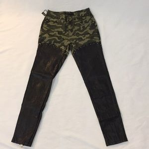 Pants - NWT camo and faux leather studded pants size M
